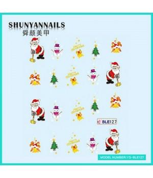 Слайдер дизайн для ногтей Новогодние, Санта Клаус, Дед Мороз, колокольчики, елка, снеговик