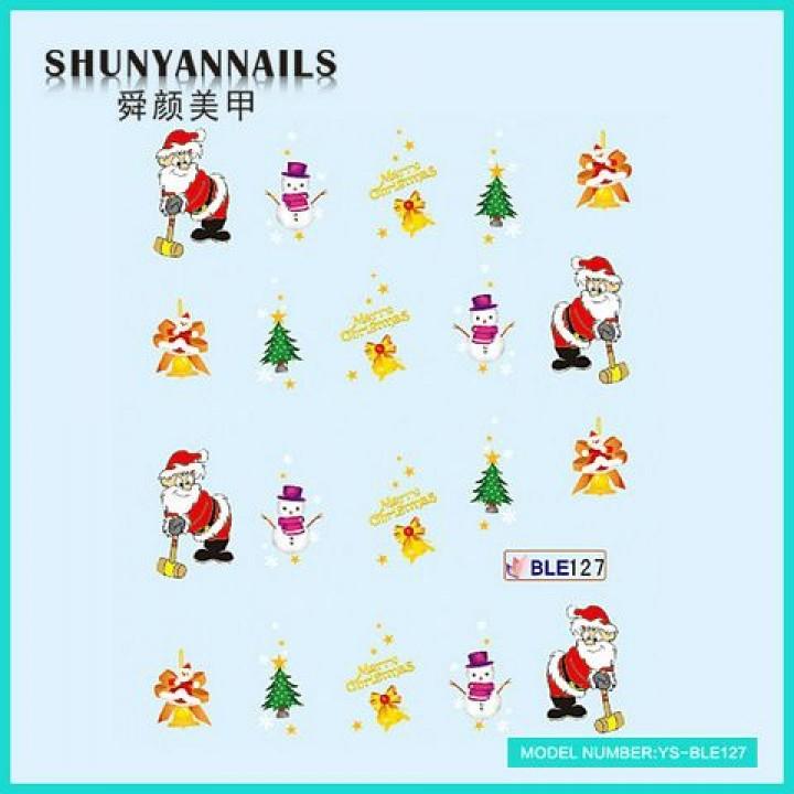 Слайдер дизайн для украшения ногтей Новогодние, Санта Клаус, Дед Мороз, колокольчики, елка, снеговик