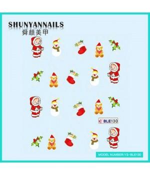 Слайдер дизайн для ногтей Новогодние, снеговик, мишка, чулок для подарков