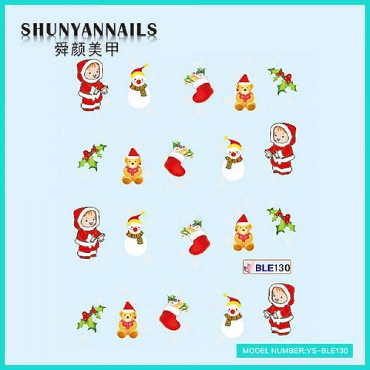 Слайдер дизайн для украшения ногтей Новогодние, снеговик, мишка, чулок для подарков