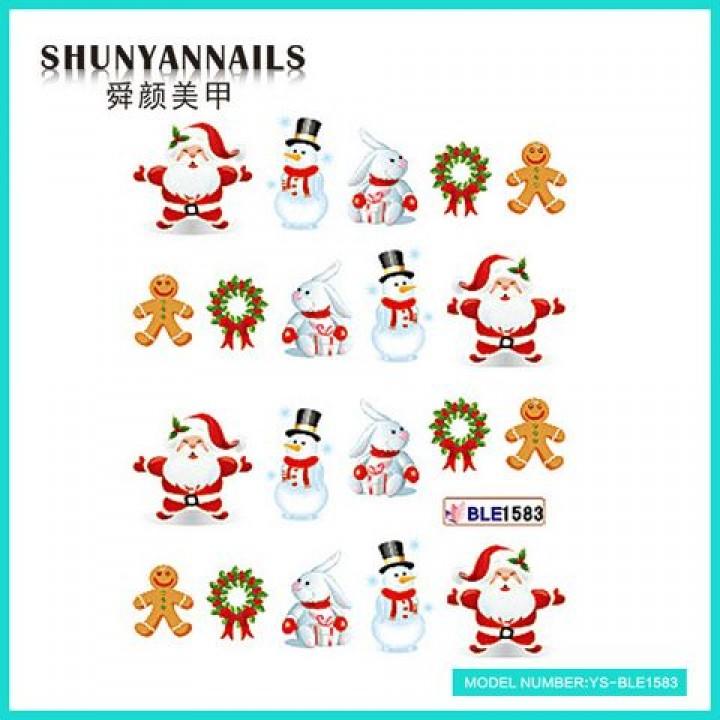 Слайдер дизайн для украшения ногтей Новогодние, Санта Клаус, Дед мороз, зайчик, снеговик, пряник