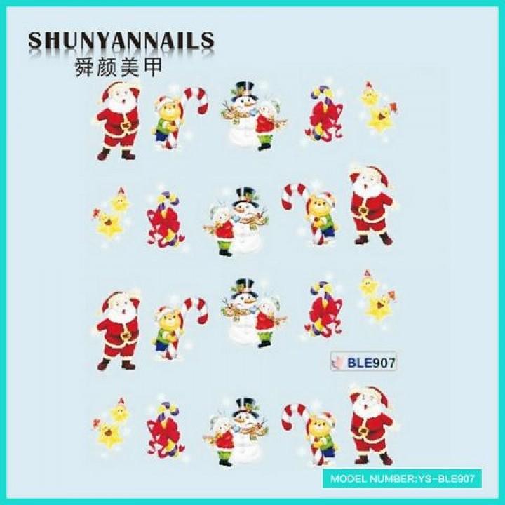 Слайдер дизайн для украшения ногтей Новогодние, мишка, снеговик, звездочки, Дед Мороз, Санта Клаус