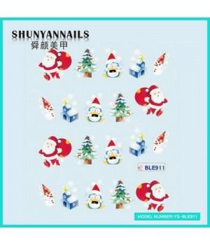 Слайдер дизайн для ногтей Новогодние, мишка, елка, пингвин, снеговик, Дед Мороз, Санта Клаус