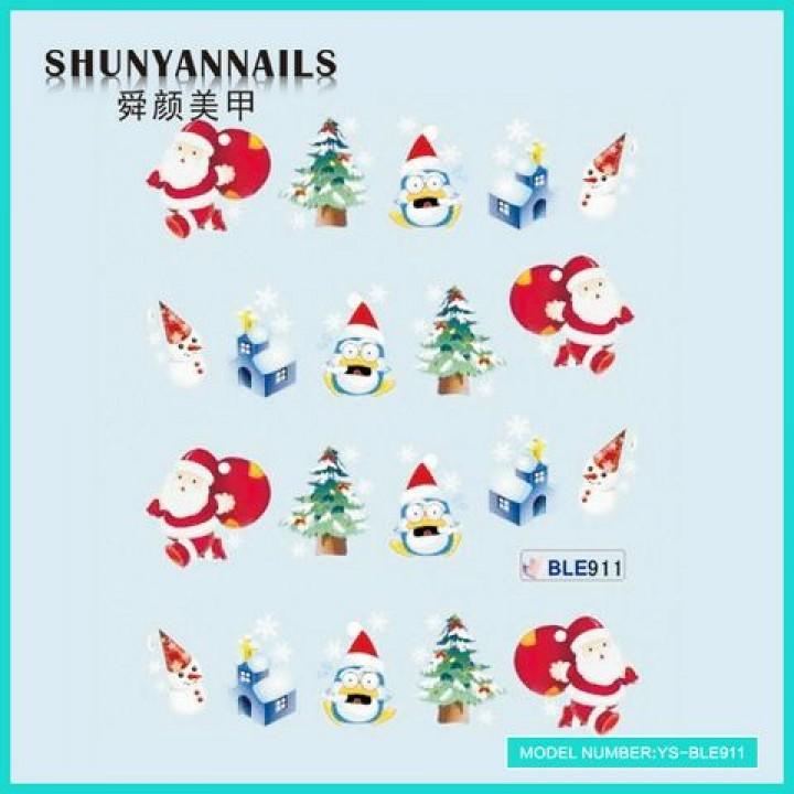 Слайдер дизайн для украшения ногтей Новогодние, мишка, елка, пингвин, снеговик, Дед Мороз, Санта Клаус