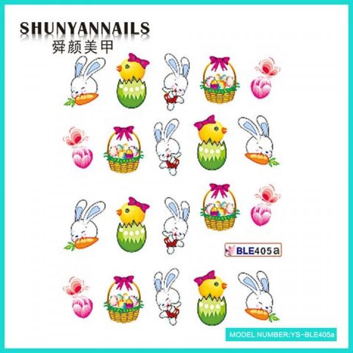 Слайдер дизайн для украшения ногтей Пасхальные яйца, зайчик, птичка