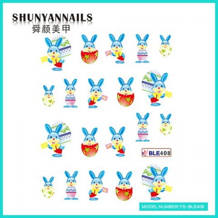 Слайдер дизайн для украшения ногтей Пасхальный зайка голубой