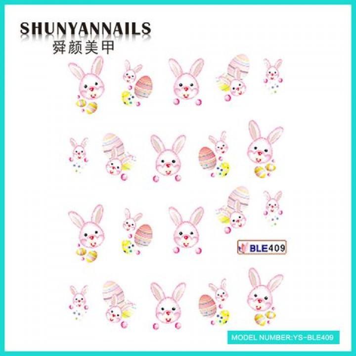 Слайдер дизайн для украшения ногтей Пасхальный зайка розовый