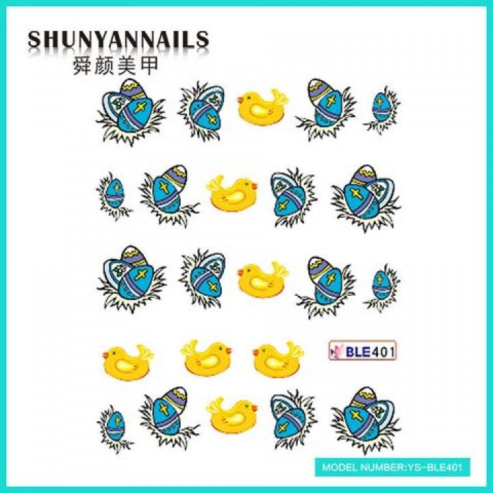 Слайдер дизайн для украшения ногтей Пасхальные яйца, птички
