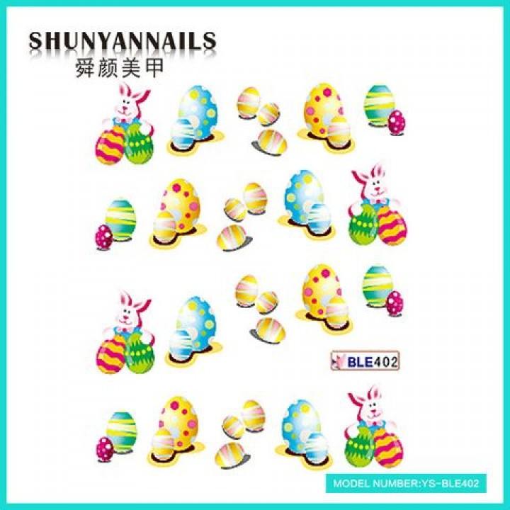 Слайдер дизайн для украшения ногтей Пасхальные яйца, зайка