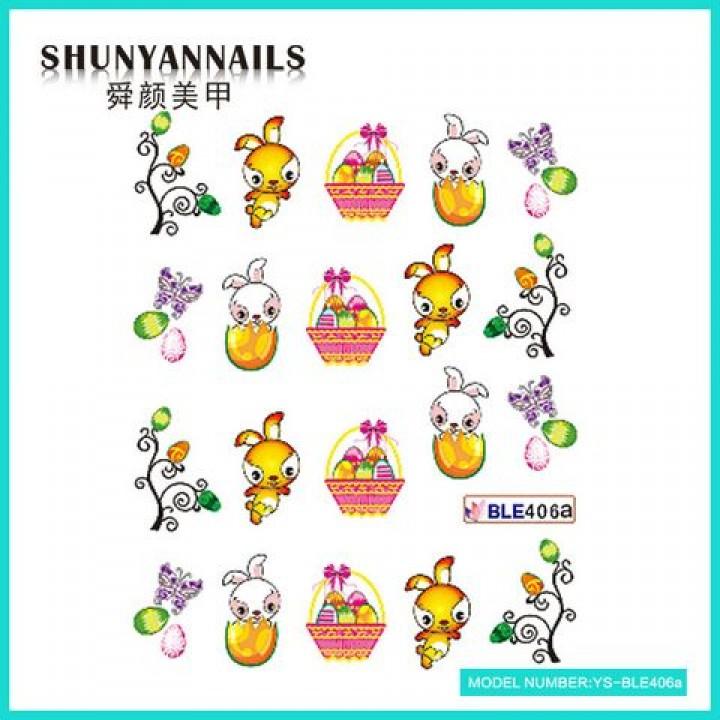 Слайдер дизайн для украшения ногтей Пасхальные яйца, зайка, бабочки