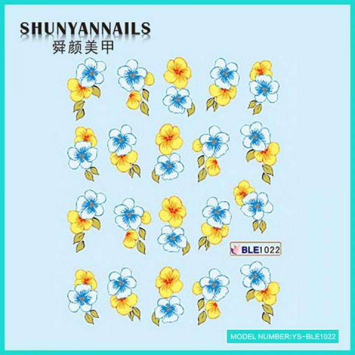 Слайдер дизайн для украшения ногтей Цветы голубые