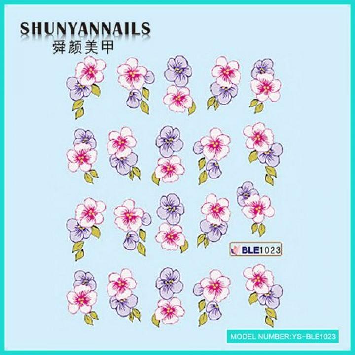 Слайдер дизайн для украшения ногтей Цветы фиолетовые