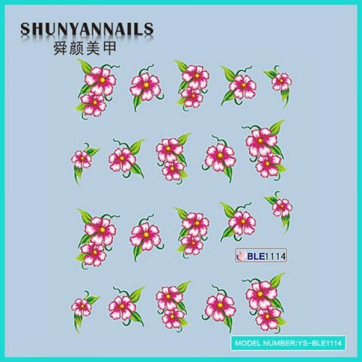 Слайдер дизайн для украшения ногтей Цветы розовые