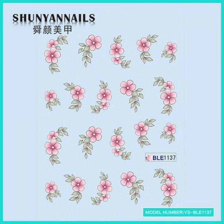 Слайдер дизайн для украшения ногтей Цветы нежно розовые