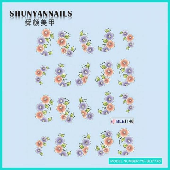 Слайдер дизайн для украшения ногтей Цветы красные, фиолетовые