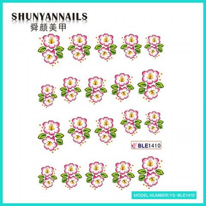 Слайдер дизайн для украшения ногтей Лиловые цветочки