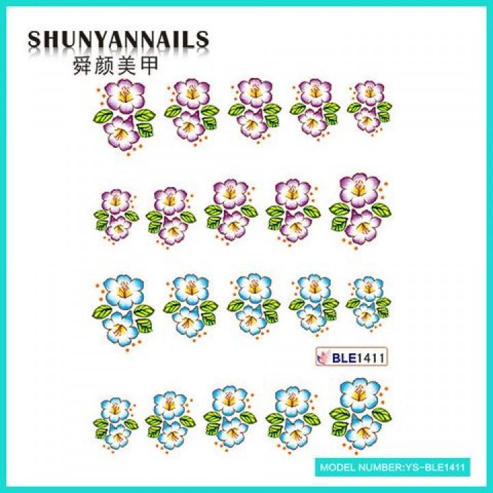 Слайдер дизайн для украшения ногтей Цветочки сиреневые, голубые