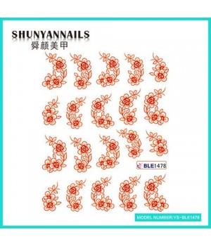 Слайдер дизайн для ногтей Красные цветы