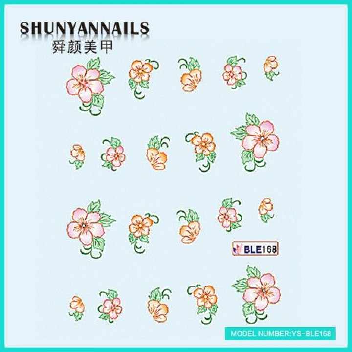 Слайдер дизайн для украшения ногтей Оранжевые цветы, розовые цветы
