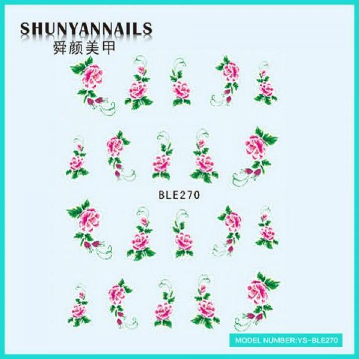Слайдер дизайн для украшения ногтей Цветы, малиновые розы
