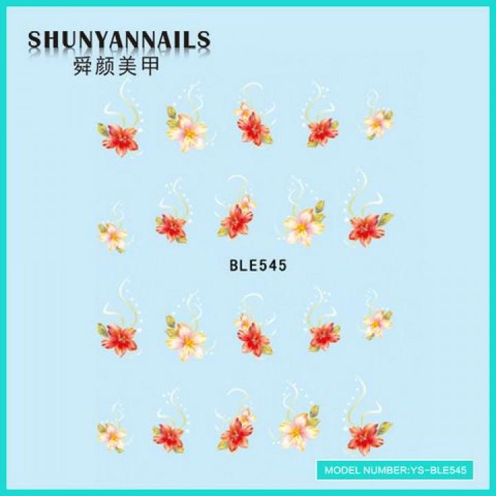 Слайдер дизайн для украшения ногтей Цветы, лилия розовая, красная