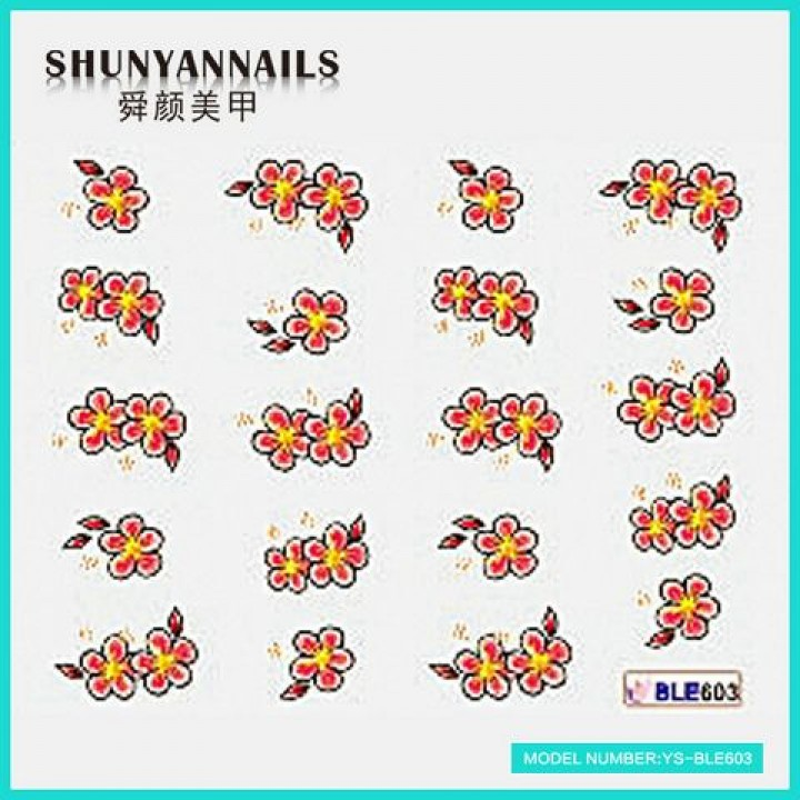 Слайдер дизайн для украшения ногтей Малиновые цветы