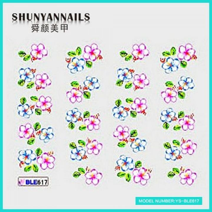 Слайдер дизайн для украшения ногтей Малиновые и голубые цветы