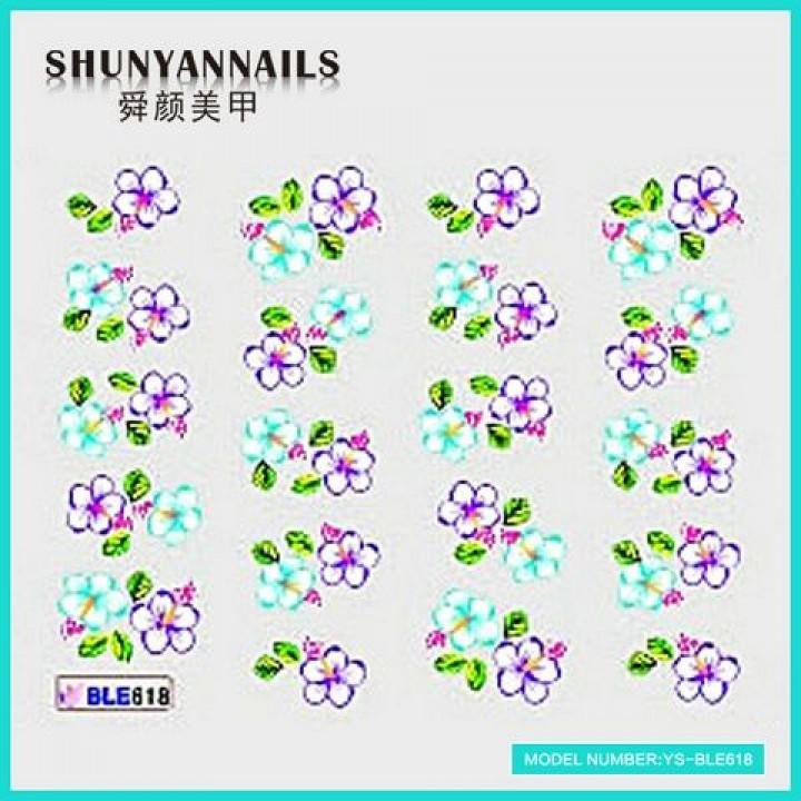 Слайдер дизайн для украшения ногтей Фиалковые и голубые цветы