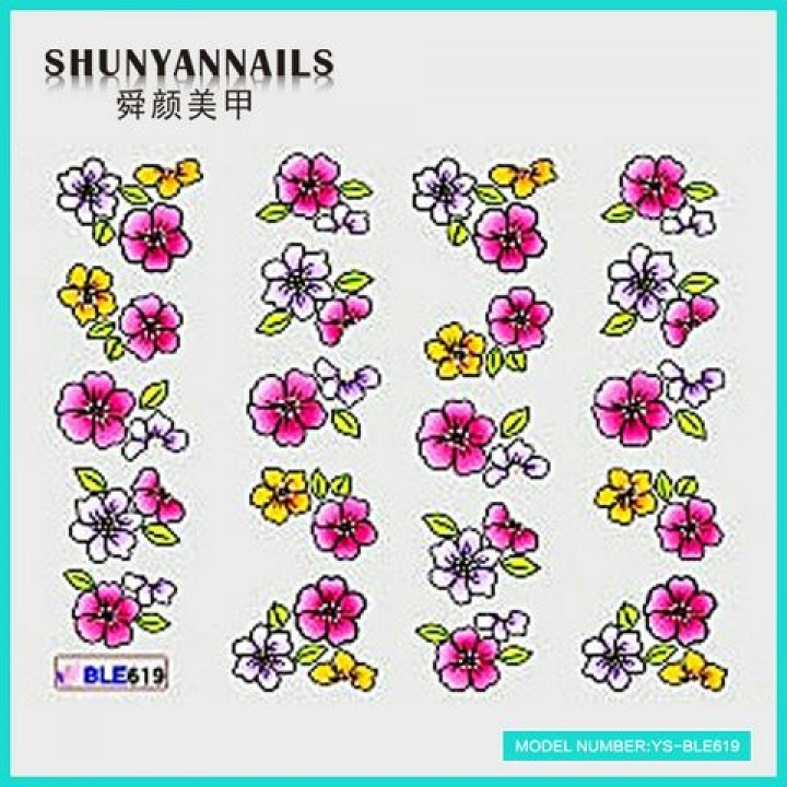 Слайдер дизайн для украшения ногтей Цветы белые, малиновые