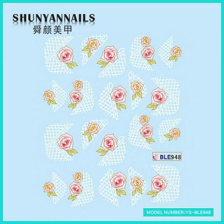 Слайдер дизайн для украшения ногтей Розовые розы, абстракция