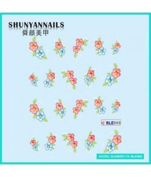 Слайдер дизайн для ногтей Голубые, красные цветы
