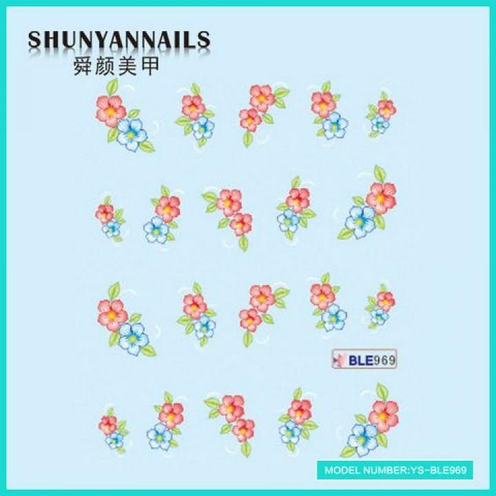 Слайдер дизайн для украшения ногтей Голубые, красные цветы