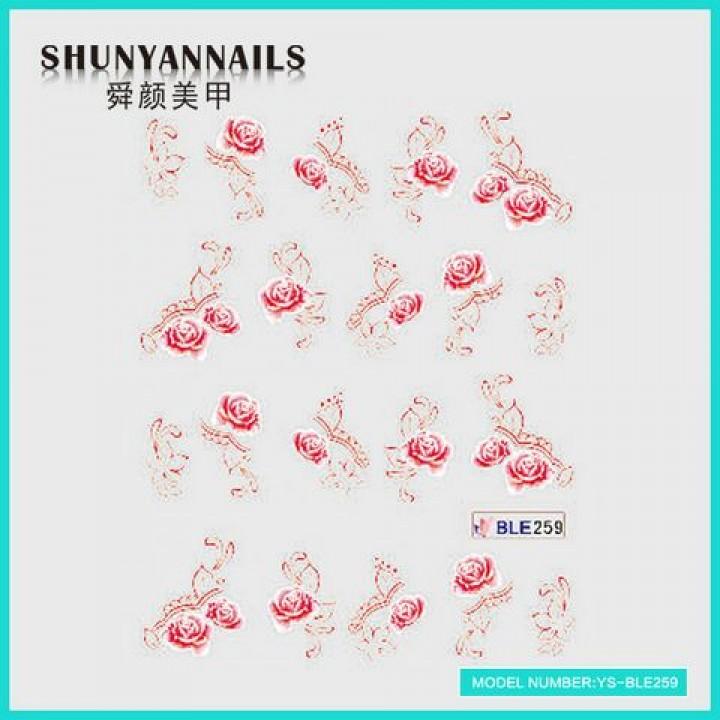 Слайдер дизайн для украшения ногтей Цветы, красная роза