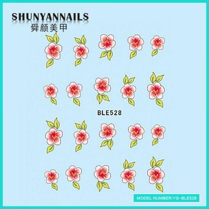 Слайдер дизайн для украшения ногтей Цветы розово-красные