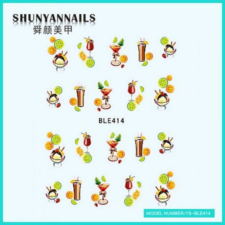 Слайдер дизайн для украшения ногтей Фрукты, апельсин, лайм, коктейль