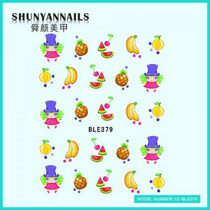 Слайдер дизайн для украшения ногтей Фрукты, апельсин, арбуз, банан, ананас, вишенки
