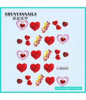 Слайдер дизайн для ногтей Цветы, красные розы, сердце