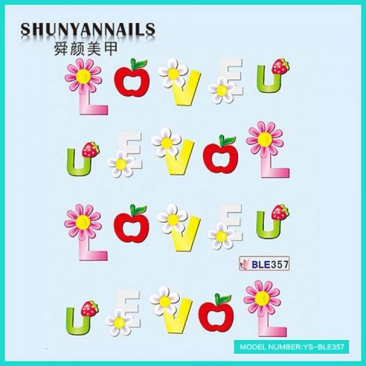 Слайдер дизайн для украшения ногтей День влюбленных, LOVE