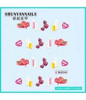 Слайдер дизайн для ногтей День влюбленных, свечи, сердечки