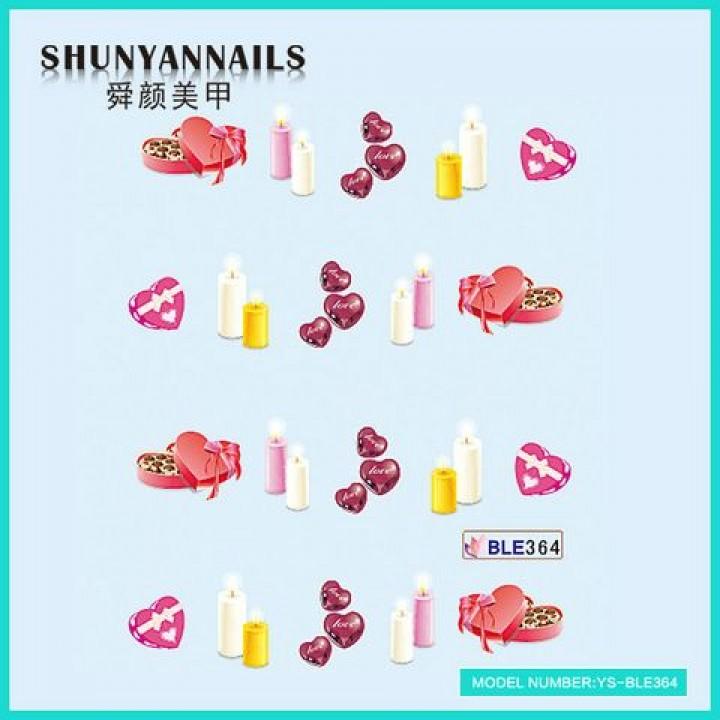 Слайдер дизайн для украшения ногтей День влюбленных, свечи, сердечки