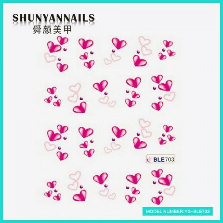 Слайдер дизайн для украшения ногтей Малиновые сердечки