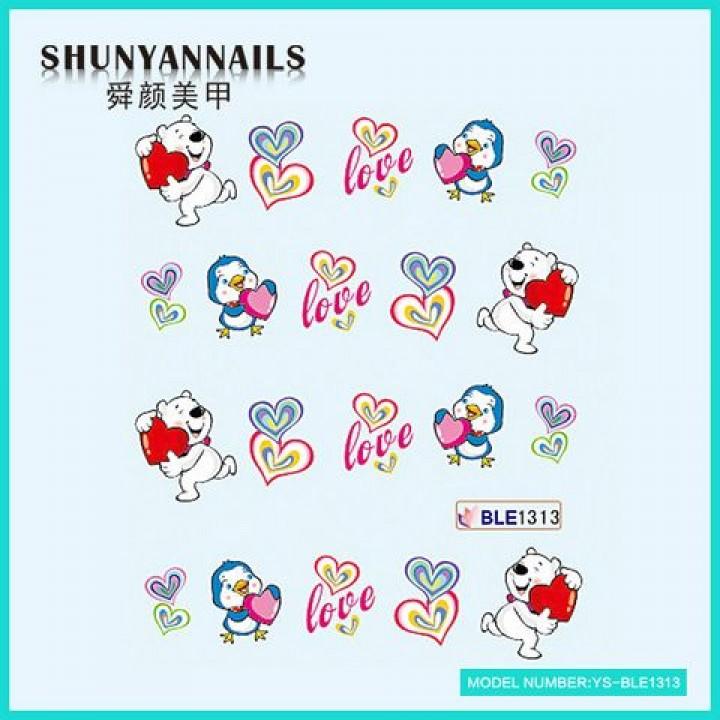 Слайдер дизайн для украшения ногтей День влюбленных, мишка, птичка, сердечки