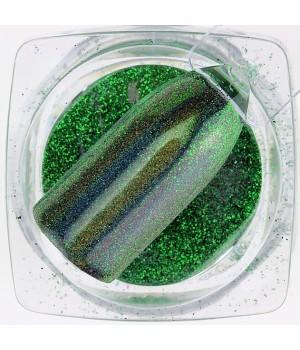 Зеркальная пудра Chrome №17 зелёная голографическая