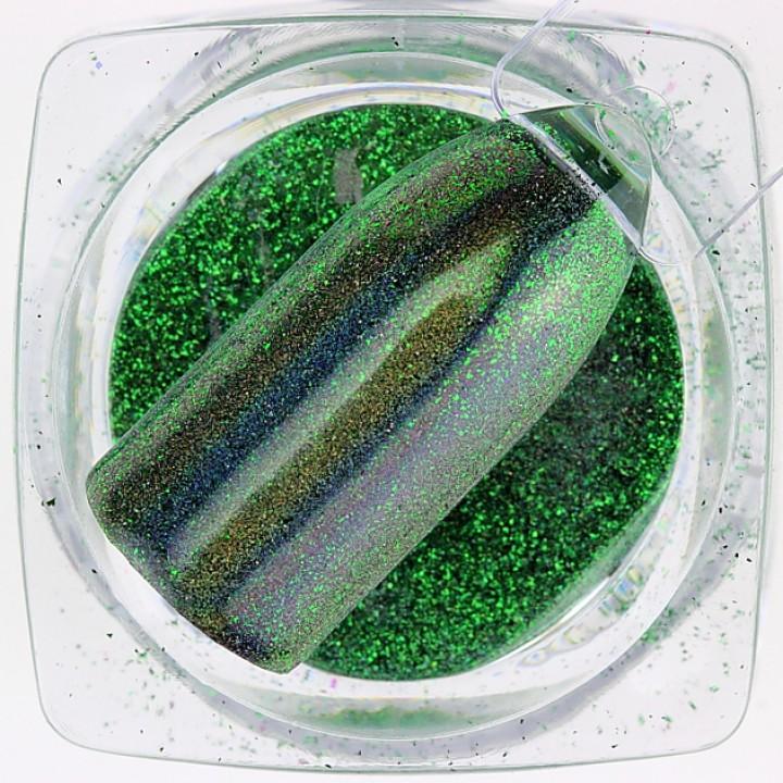 Зеркальная пудра для дизайна ногтей голографическая зелёная №17